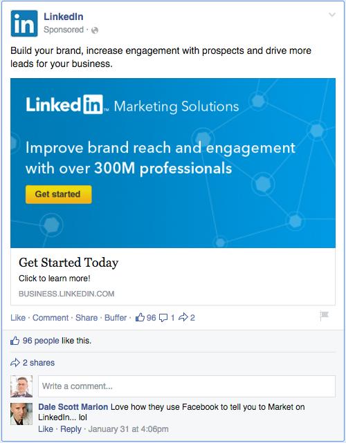 Linkedin reclama pe Facebook